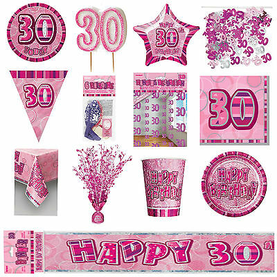 Glitz Pink 30th Birthday Party Tableware Decoration Plates Banners Candle Age 30