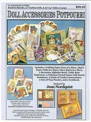"Jean Nordquist's DOLL ACCESSORIES POTPOURRI - 10 Items to make Bleu& 12"" fashion"