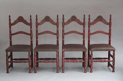Set of 4 1920s Spanish Revival Adobe Style Chairs New Leather Seats (7868)