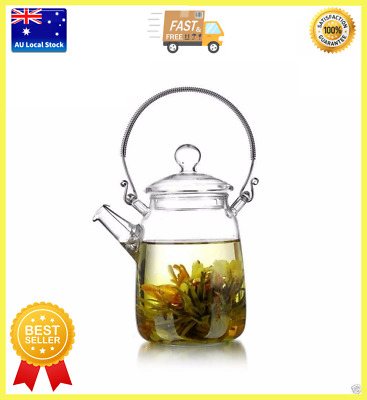 Retro Style High Handle Glass Teapot With Spring Filter 500ml