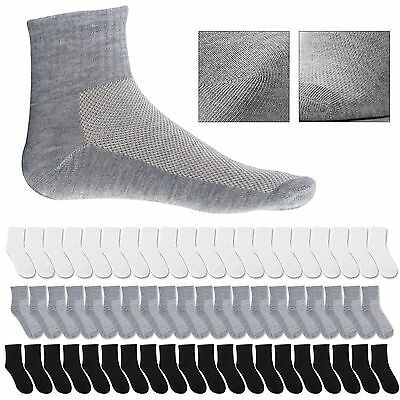 20 Pairs Mens Cotton Rich Sport Socks Work Socks Size 6-11 Black White & Mix UK