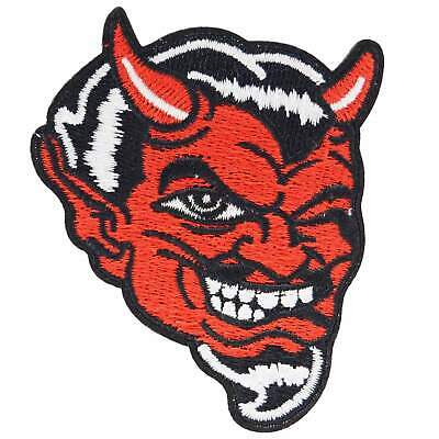 Red Devil Iron On Patch Rockabilly Punk Retro Sew Kustom Hot Rod Embroidered