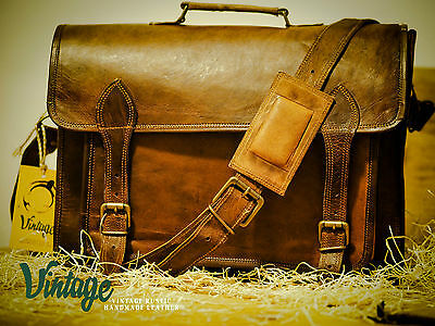 New Vintage Handmade Goat Leather Multi-pockets DSLR Camera Bag, Messenger Bag
