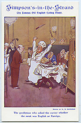 C.1920'S ARTIST SIGNED BATEMAN ADVERT POSTCARD SIMPSON'S-IN_THE_STRAND UK a61.