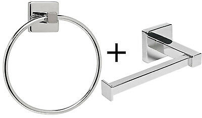 Chrome Square Bathroom Toilet Roll Holder & Towel Ring Set. Fittings Included