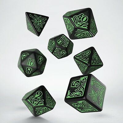 Set of Black & green in the Dark CALL OF CTHULHU RPG dice set by Q-workshop