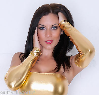 Gold Metallic Pvc Shiny Wet Look Gauntlet Arm Warmers Glove Party Armwarmer G106