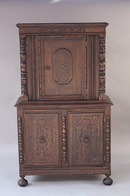 Early 1900s Spanish Revival Standing Cabinet w Etched Carved Wood Motif (7842)