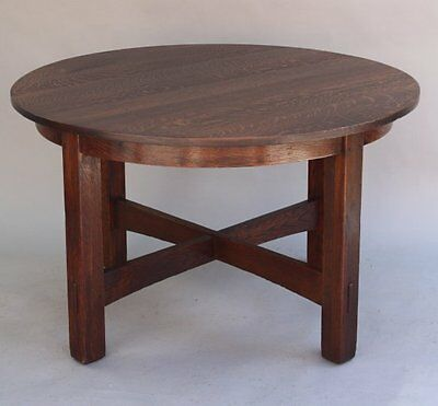 1 of 2 1920 JG Stickley Fixed Round Table Arts & Crafts Craftsman Tenon (7836)