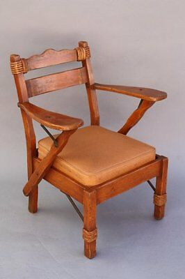 1930s Coronado Armchair w Rope & Iron Rancho Monterey Signed Seat Painted (7828)