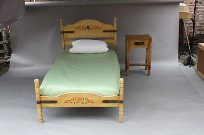 1930s Rancho Monterey Twin Bed Hand Painted Floral California Bedroom (7805)