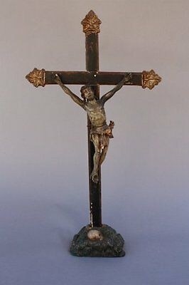 18th Century Wood Carved Crucifix Paint & Gilt Religious Christian Art (7796)