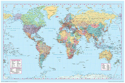 World Map Poster Print 36x24 Wall Home Art School Decor