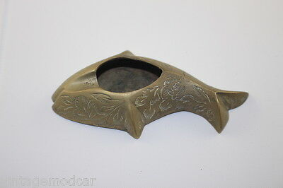 Vintage Solid Brass Ashtray Fish Shape Made in India Hard to Find