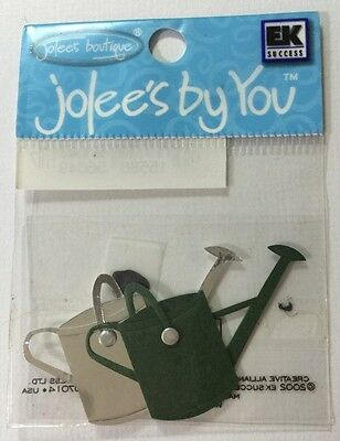 2pc WATER CAN Embellishments Jolee/'s•Gardening•Plants•Flowers •Green//Silver•Pot