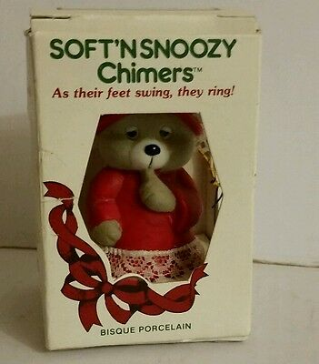 Vintage SOFT 'N SNOOZY Chimers Bear Christmas Ornament in Box