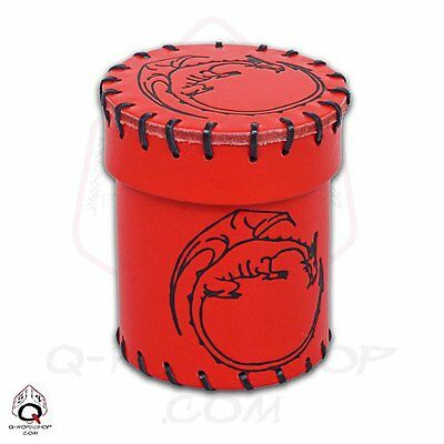 Q-Workshop Lancia Dadi Dragons Dice Cup Red Rossa Genuine Leather