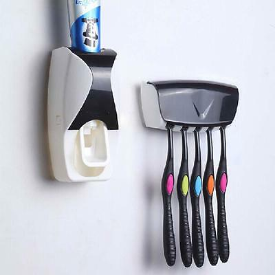 Wall Mount Rack Auto Automatic Toothpaste Dispenser Toothbrushes Holder Stand FT