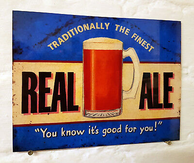 real ale beer Retro metal Aluminium Sign vintage bar pub man cave signs shed
