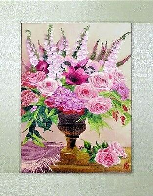 """Needlepoint Embroidery finished completed""""pink memory""""decor free shipping gifts"""