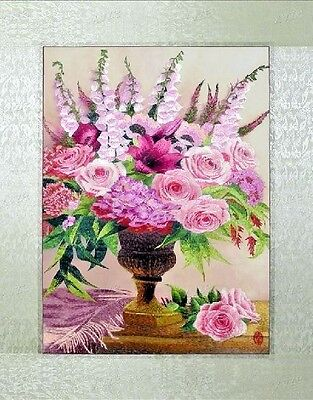 """Needlepoint Embroidery finished completed""""pink memory""""decor free shipping"""