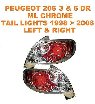 Peugeot 206 Hatchback ONLY Chrome ML Performance Lexus Style Rear Lights