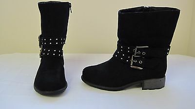 NEW!Girl's Bongo Steph Studded Moto Boots 66445 Micro Suede Black  62Q-T