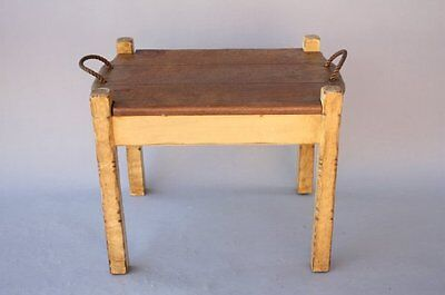 1930s Rancho Monterey Side Table w Removable Tray & Storage California (7775)