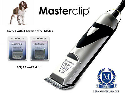 New Masterclip Springer Spaniel Dog Clippers Clipping Set with 3 Clipper Blades