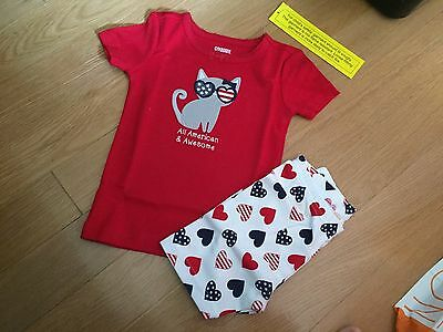 NWT Gymboree Girls All American & Awesome Kitty Cat Gymmies Pajamas NEW 6-12 M