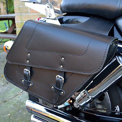 Motorcycle Black Leather Saddlebags Panniers Kawasaki Vn 800 900 Vulcan C28A