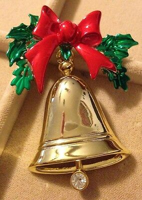 Vintage Christmas Bell With Moving  Clapper Enameled Brooch Cute Unsigned