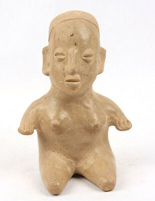 Antique Pre Columbian Pottery Seated Man Jalisco Ameca Ancient Old Burial Figure