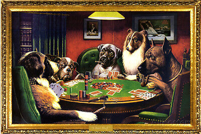 Dogs Playing Poker Poster Print - 36x24