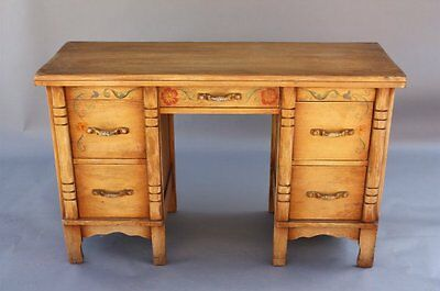 1930s Rancho Monterey Period Coronado Desk Table Signed Hand Painted (7725)