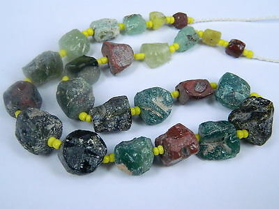 Ancient Fragment Glass Beads Strand Roman 200 BC      #ML1107