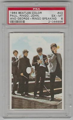 1964 The Beatles Color Paul John George Ringo Speaking Card #43 Psa 6 Ex-Mt