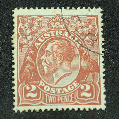 1920-1928 2d Two Pence Red Brown King George V Stamp - Cancelled to Order - Flaw