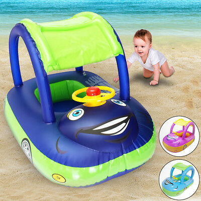 Inflatable Baby Kids Float Seat Boat Tube Ring Car Sun shade Swimming Pool Blue
