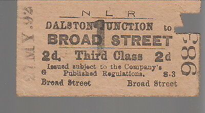 Antiker Fahrschein / old Ticket: Dalston Junction > Broad Street.21.5.1892 (795)