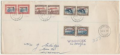 South West Africa 1952 Official Pairs Registered Cover To South Africa