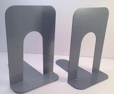 2 Vtg Mid Century Industrial Library School Style Metal Bookends