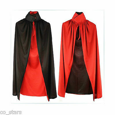 Halloween Black Red Vampire Cape Reversible Dracula Devil Cloak Fancy Costume