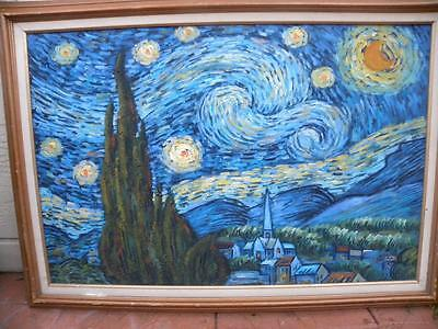 """41""""x30"""" THE STARRY NIGHT BY VINCENT VAN GOGH REPRODUCTION OIL ON  CANVAS FRAMED"""