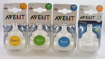 Philips Avent Teats Airflex Classic 2 Pack from 0-6 months+ *BPA free *All Sizes