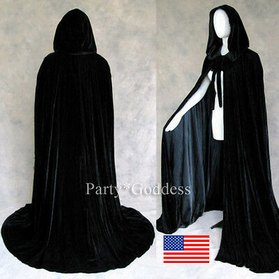 MEDIEVAL Hooded Black Cloak Coat velvet Cape Shawl Halloween Wedding Size S-XXL
