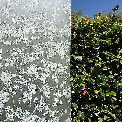 92cm x 5m White Floral Privacy Frosted Frosting Removable Window Glass Film