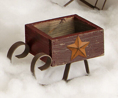 New SMALL BURGUNDY WOODEN SLED RUSTY STAR Wood Primitive Country Christmas