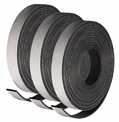 """3 Rolls of Adhesive Backed Flexible Strong Fridge Magnet Strip Tape 30"""" x 1/2"""""""