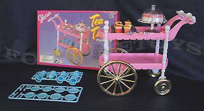 NEW GLORIA DOLL HOUSE FURNITURE SIZE TEA CART+ 4 Servings PLAYSET For Barble